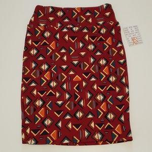 LuLaRoe Cassie Pencil Skirt XS Burgundy Multi NWT